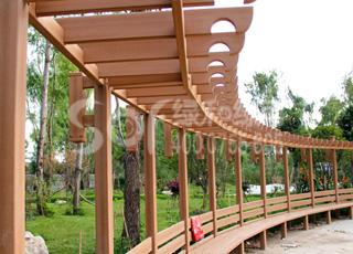 公园木塑花架/塑木木塑花架