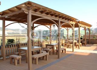 加篷木塑廊架/塑木木塑花架