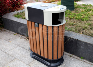 学校木塑垃圾桶/塑木木塑垃圾桶