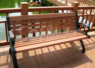 户外靠背木塑椅/塑木木塑休闲椅