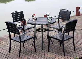 木塑圆形休闲桌椅/塑木木塑休闲椅