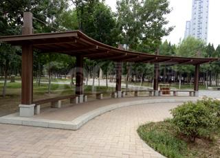 避雨木塑长廊/塑木木塑凉亭